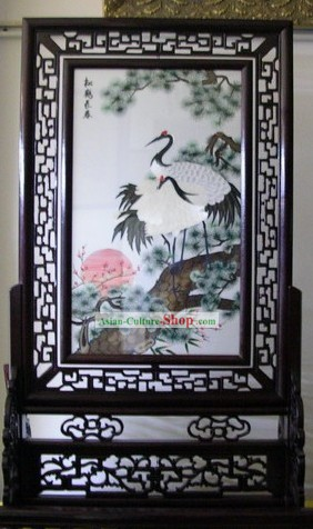 Chinese Double-sided Embroidery Handicraft-Pine and Crane