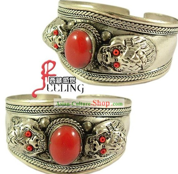 Tibetan 100% Hand Made Double Dragons Playing Ball Bracelet
