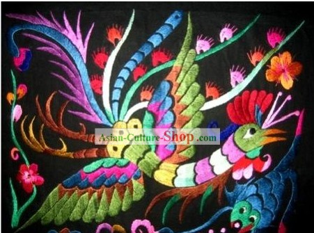 Chinese Large Miao Minority Silk Thread Hand Embroidery Art-A Peacock in His Pride
