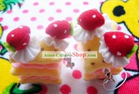 Cute Hand Made Velvet Pendant Strawberry Cake 1