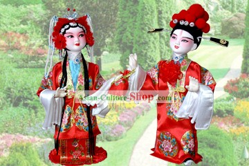 Handmade Peking Silk Figurine Doll - Wedding Couple