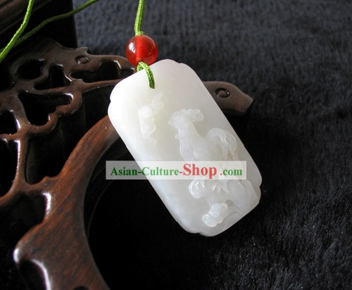 Chinese Top Snow White Hetian Jade Zodiac Chicken Charm Collectible