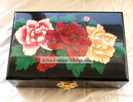 Archaize Chinese Colored Drawing Making Up Peony Casket