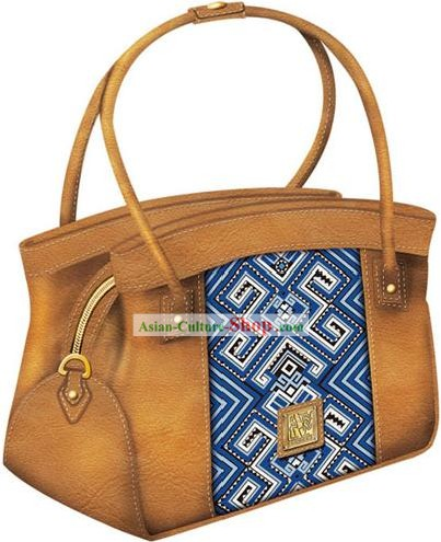 Hand Made and Embroidered Chinese Miao Minority Handbag for Women - Sky