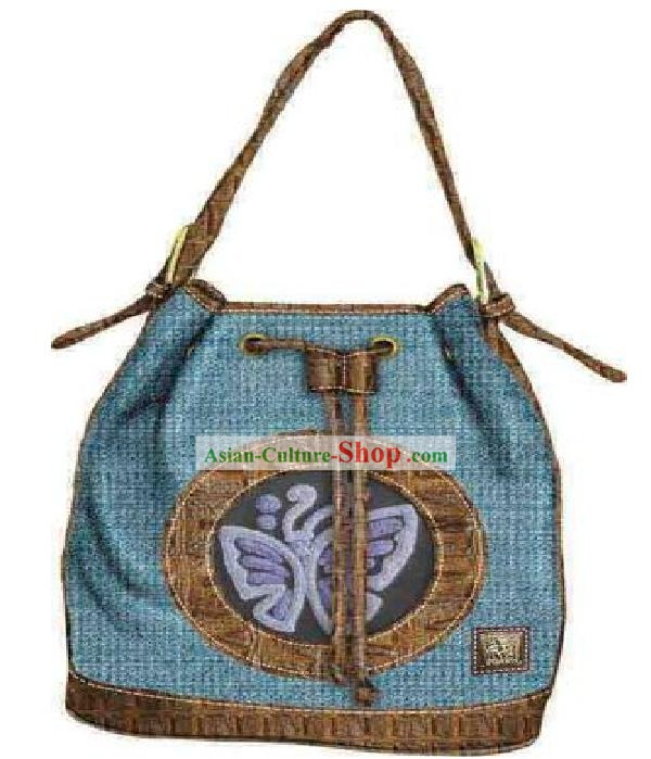Hand Made and Embroidered Chinese Miao Minority Handbag for Women - Butterfly