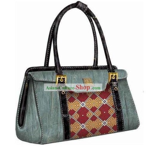 Hand Made and Embroidered Chinese Miao Minority Handbag for Women - Marble
