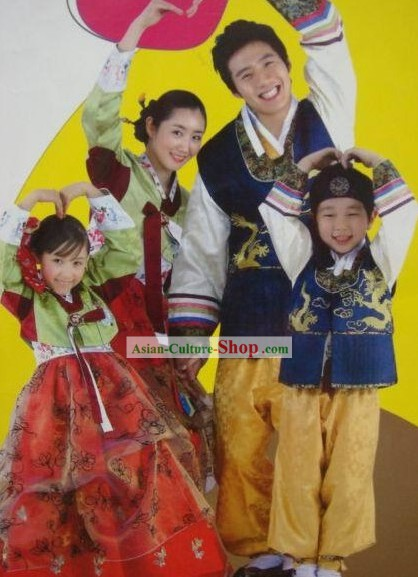 Korean Traditional Handmade Hanbok for Four Members Family (4 sets)