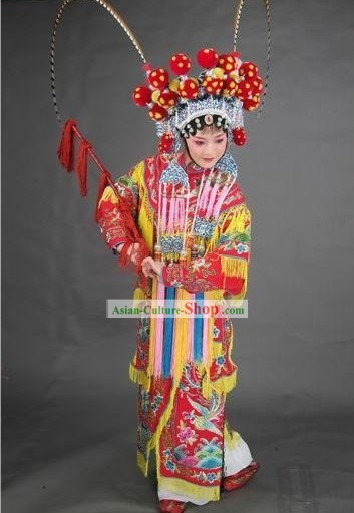 Supreme Chinese Traditional Heroine Hu Mu Lan Costumes, Crown and Whip Complete Set