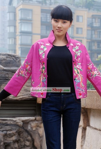 Chinese Made to Order Large Pink Flower Qipao Style Blouse