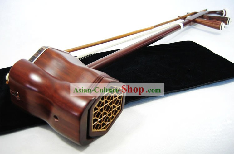 Traditional Snakeskin and Rosewood Two-stringed Chinese Fiddle Complete Set