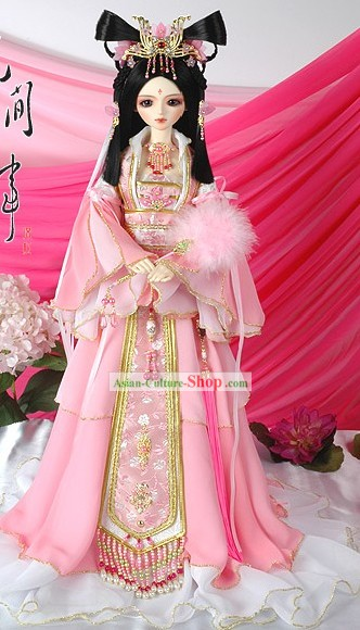 Supreme Chinese Ancient Pink Princess Clothing, Hair Decoration and Accessories Complete Set
