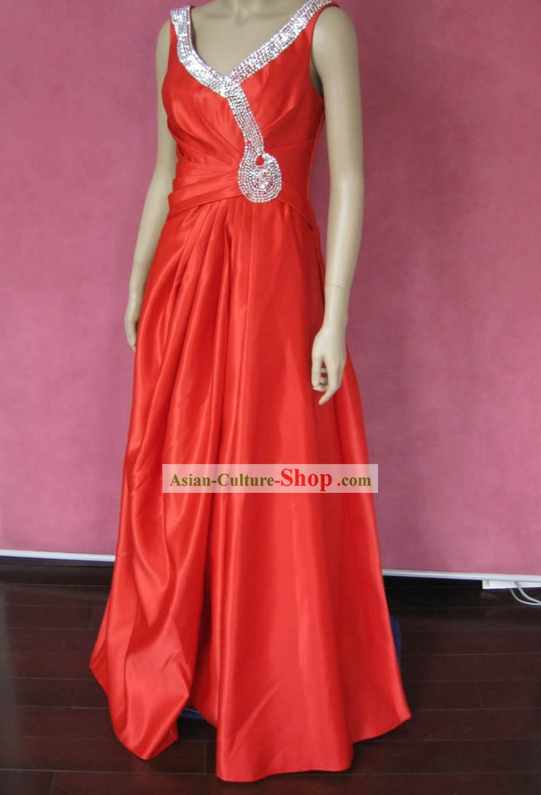 Tailor Made Lucky Red Silk Wedding Dress for Bride