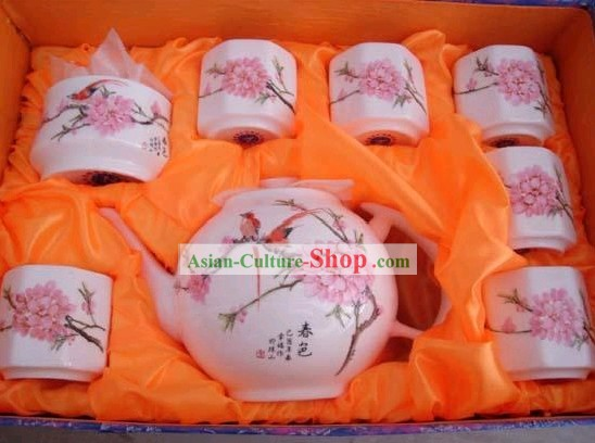 Chinese Classic Jing De Zhen Ceramic Peach Blossom Tea Cups Set