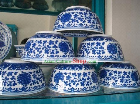Chinese Classic Jing De Zhen Ceramic Blue and White Porcelain Bowl