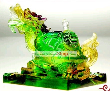 Chinese Classic Feng Shui Coloured Glaze Dragon Tortoise (wealthy children)