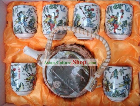Chinese Classic Jing De Zhen Ceramic Martial Arts 7 Pieces Set Tableware