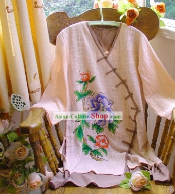 Chinese Classic Hand Painted Peony Cotton and Flax Mandarin Blouse