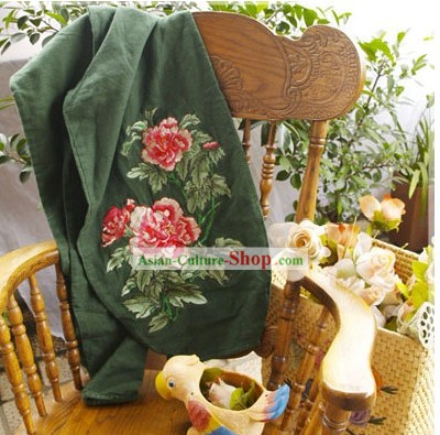Chinese Classic Embroidered Large Peony Cotton and Flax Green Trousers
