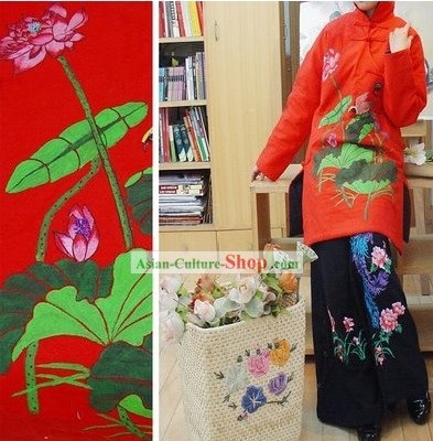 Chinese Classic Embroidered Large Lotus Cotton Winter Long Overcoat