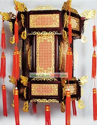 Large Traditional Chinese Hand Carved Natural Wood Palace Lantern