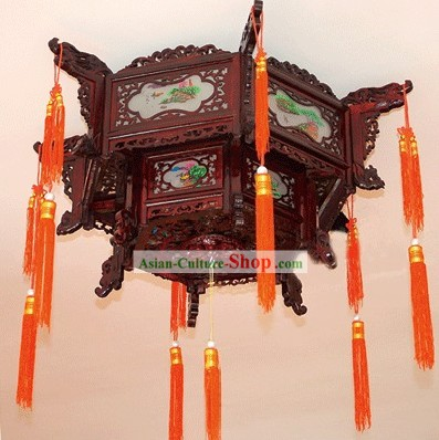 Large Traditional Chinese Hand Carved Natural Wood Two Layers Palace Lantern