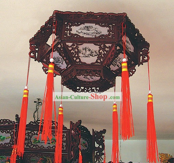 Traditional Chinese Hand Carved Natural Wood Palace Ceiling Lantern