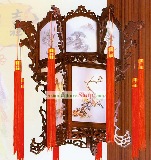 Hand Painted Carved Palace Flower and Bird Lantern