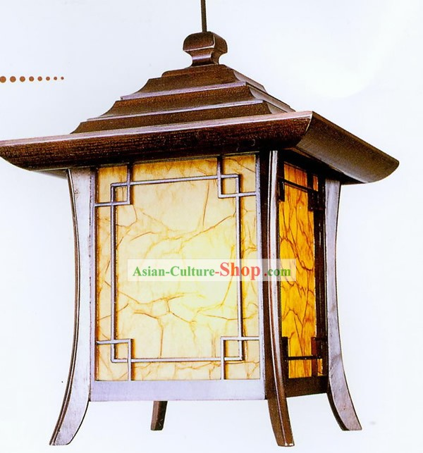 Chinese Hand Made Pavilion Shape Wooden Ceiling Lantern