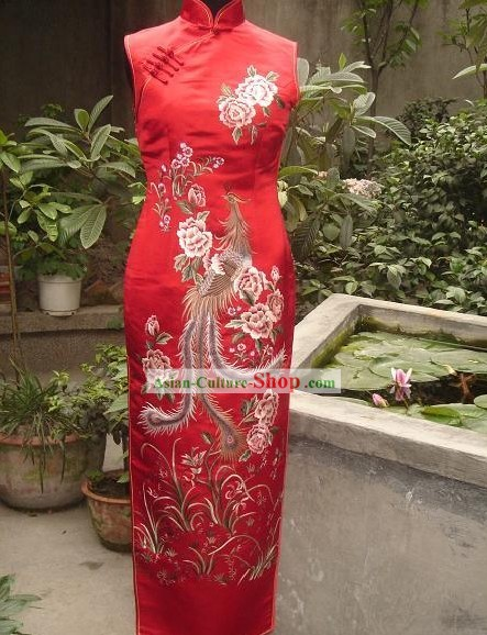 Chinese All Hand Embroidery Phoenix Long Silk Cheongsam (Qipao)