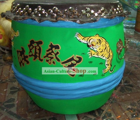Supreme Chinese Luminous Large Hand Painted Kung Fu Tiger Wooden and Cowhide Drum (glow in dark)