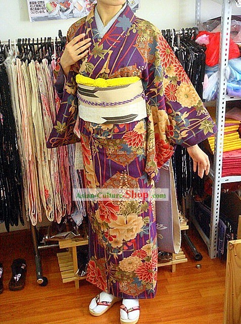 Traditional Japanese Hundred Flowers Kimono Handbag and Geta Full Set