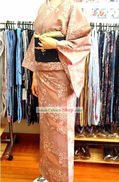 Traditional Japanese Oriental Cherry Kimono and Belt Full Set