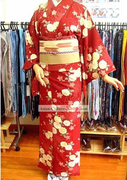Traditional Japanese Lucky Red Floral Blue Kimono and Belt Full Set