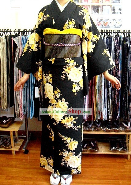 Traditional Japanese Black Peony Kimono and Belt Full Set