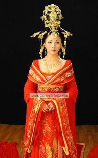 China Tang Dynasty Ancient Palace Phoenix  Empress Wedding Costumes Complete Set