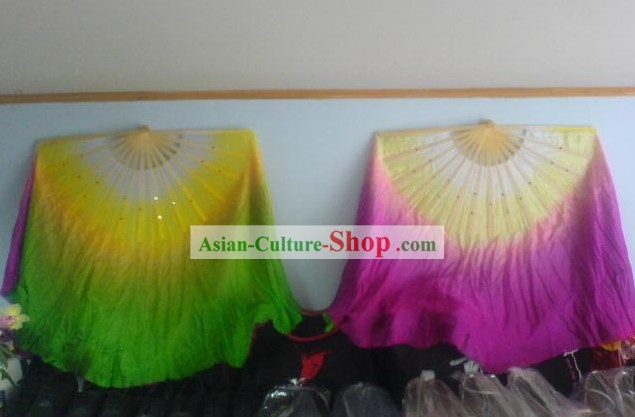 30 Inches Length Double Sided Two Colors Silk Dance Fan