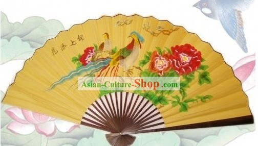 65 Inches Chinese Traditional Handmade Hanging Silk Decoration Fan - Peacock Pair