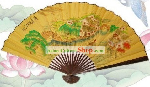 65 Inches Chinese Traditional Handmade Hanging Silk Decoration Fan - Ancient Village Scene