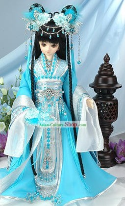 Chinese Gorgeous Light Blue Princess Costumes Complete Set