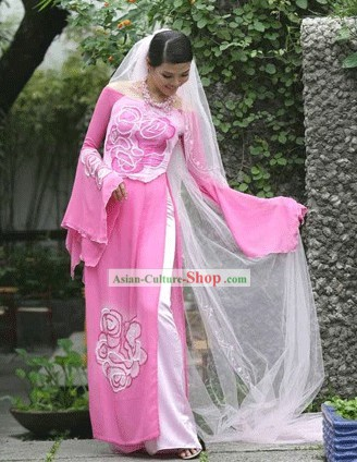 Vietnamese National Pink Flower Long Cheongsam Costume