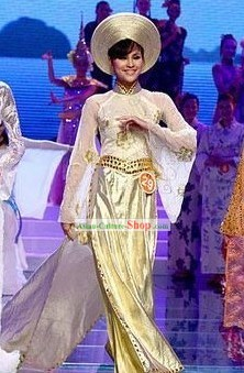 Vietnamese National White Silk Costume and Hat Set