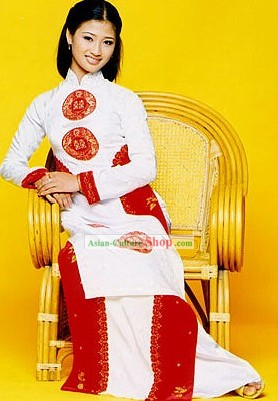 Vietnamese Classic Silk White Costumes for Ladies