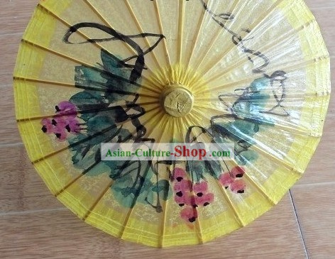 Small Hand Made and Painted Yellow Dance Umbrella