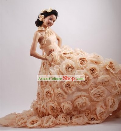 Romantic Rose Design Wedding Dress and Hair Decoration Complete Set for Women