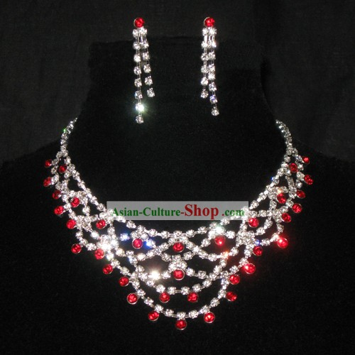 Necklace and Earrings Chinese Wedding Jewelry Set for Bride