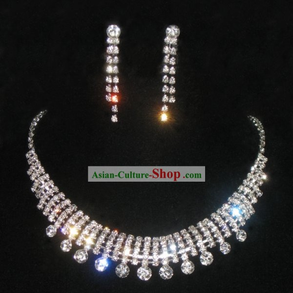 Necklace and Earrings Chinese Wedding Bride Jewelry Set