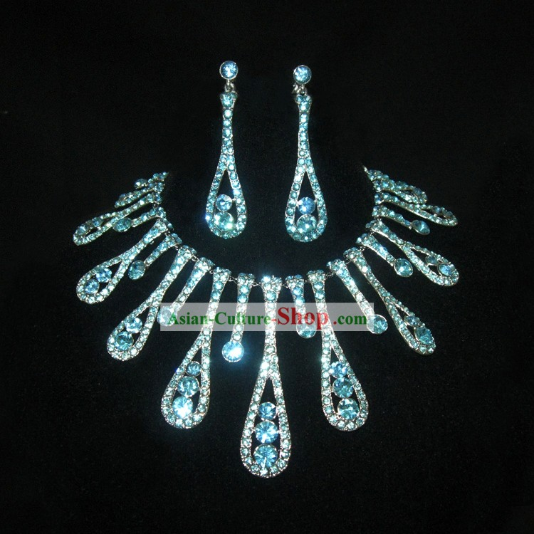 Blue Necklace and Earrings Chinese Wedding Jewelry Set