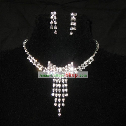 Stunning Wedding Tie Design Necklace and Earrings Jewelry Set