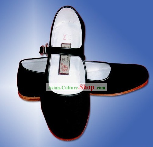 Chinese Traditional Handmade Black Cloth Shoes with Strap