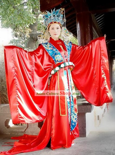 Supreme Chinese Traditional Wedding Dress and Phoenix Wedding Head Piece Complete Set